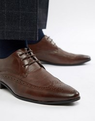 New Look Brogue With Embossed Detail In Dark Brown Dark Brown
