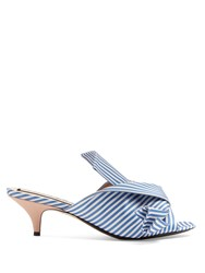 N 21 Stripe Print Kitten Heel Satin Mules Blue White