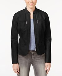 Joujou Jou Jou Faux Leather Motorcycle Jacket Black
