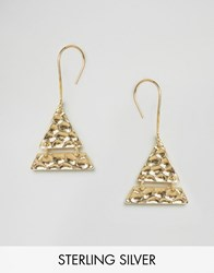 Asos Gold Plated Sterling Silver Hammered Triangle Earrings Gold Plated