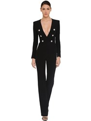 Balmain Long Crepe Jumpsuit Black