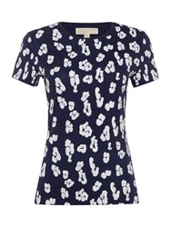 Michael Kors Short Sleeve Top With Call Over Sequin Navy