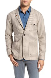 Billy Reid Harrison Linen And Cotton Jacket Natural Stripe