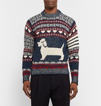 Thom Browne Hector Intarsia Wool And Mohair Blend Sweater Blue