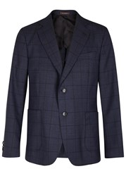 Oscar Jacobson Feng Checked Wool Blazer Navy