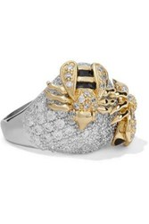 Cz By Kenneth Jay Lane Silver Tone Gold Tone Crystal And Enamel Ring Silver