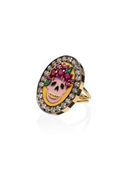 Holly Dyment 18K Yellow Gold Skull Diamond And Ruby Ring Multicoloured
