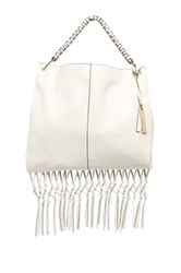 Vince Camuto Libby Leather Fringe Hobo White