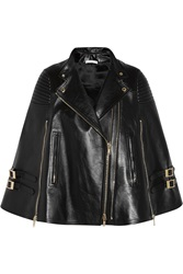 Givenchy Black Leather Cape With Ribbed Panels