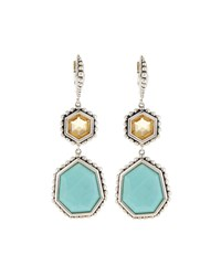 Stephen Dweck Galactical Citrine And Turquoise Geometric Double Drop Earrings Women's