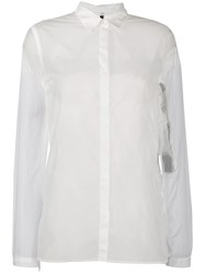 Unravel Project Sheer Longline Shirt White