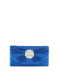 Sasha Satin Embellished Clutch Navy Blue