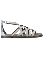 Brunello Cucinelli Strappy Sandals Metallic