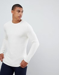Selected Homme Knitted Jumper In Textured 100 Organic Cotton Cream