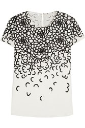 Oscar De La Renta Embroidered Silk Top White