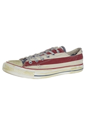 Converse All Star Ox Canvas Graphics Trainers Stars And Bars Distressed Red