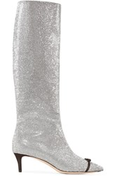 Marco De Vincenzo Bow Embellished Swarovski Crystal And Leather Knee Boots Silver
