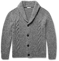 Etro Shawl Collar Cable Knit Wool And Cashmere Blend Cardigan Dark Gray