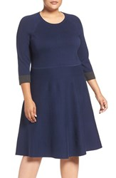 Vince Camuto Plus Size Women's Fit And Flare Sweater Dress