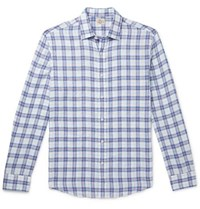 Faherty Checked Linen Shirt Blue