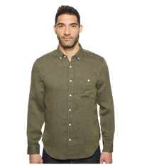 7 For All Mankind Long Sleeve Linen Oxford Shirt Olive Men's Long Sleeve Button Up