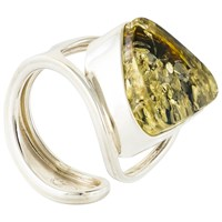 Be Jewelled Sterling Silver Baltic Ring Green Amber