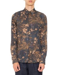 Dries Van Noten Curley Floral Print Shirt Brown