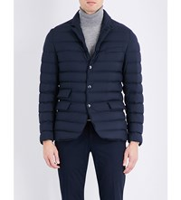 Ralph Lauren Purple Label Suede Detail Down Filled Quilted Shell Jacket Navy