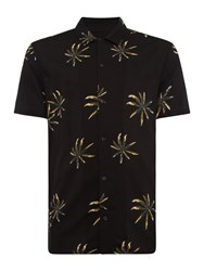 Label Lab Palm All Over Printed Short Sleeve Shirt Black