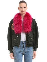 Mrandmrs Italy Oversized Bomber Jacket W Fur Patches Green