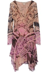 Emilio Pucci Asymmetric Printed Silk Chiffon Dress Nude