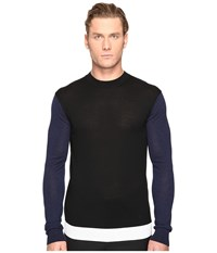 Mcq By Alexander Mcqueen Color Block Crew Neck Sweater Black Ivory Navy Men's Sweater