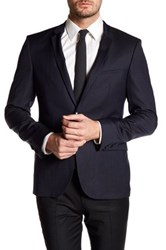 Hugo Boss Adris Notch Lapel Two Button Long Sleeve Wool Sport Coat Blue