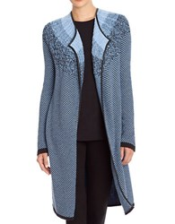 Nic Zoe Ombre Faux Leather Trimmed Sweater Jacket Blue Multi