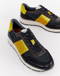 Selected Homme Premium Leather Panel Contrast Trainer Grey
