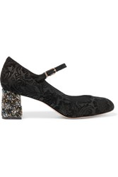 Sophia Webster Renee Jacquard Effect Suede Mary Jane Pumps Black