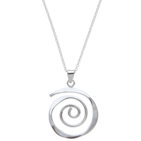 Andea Sterling Silver Sculptured Spiral Pendant Necklace