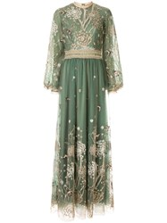 Costarellos Story Telling Embroidered Tulle Gown Green