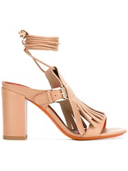 Santoni Buckled Fringed Sandals Nude Neutrals