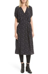 Vince Women's Floral Dot Kimono Silk Wrap Dress Black