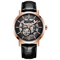 Rotary 'S Greenwich Skeleton Leather Strap Watch Black Gs05354 04