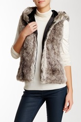 Surell Faux Fur Hooded Vest Brown