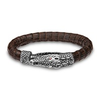 Platadepalo Silver Crocodile Head Clasp Croc Leather Bracelet Brown