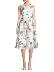 Ivanka Trump Sleeveless Floral Fit And Flare Dress Ivory Multi