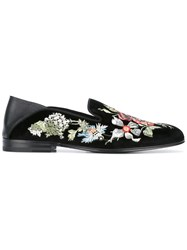 Alexander Mcqueen Floral Embroidered Slippers Black