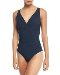 Jets By Jessika Allen Deep V Cross Front One Piece Swimsuit D Dd Cup Blue