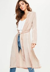 Missguided Pink Satin Lace Applique Side Kimono Jacket Rust