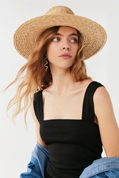 Urban Outfitters High Crown Straw Panama Hat Tan