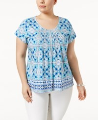 Charter Club Plus Size Metallic Pintucked Top Only At Macy's Claer Coast Combo