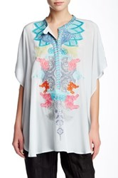 Biya Embroidered Silk Blouse Blue